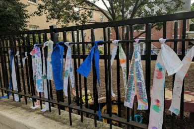 Peace Day Ribbons on a fence